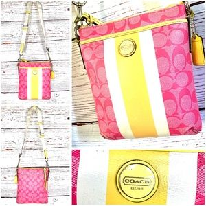  •COACH•  Signature Stripe PVC Swingpack Crossbody